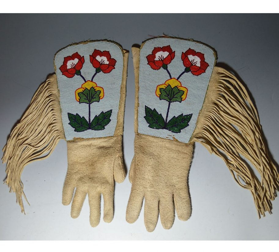 Native American Crow Beaded Gauntlets