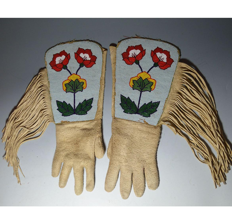 Native American Crow Beaded Gauntlets